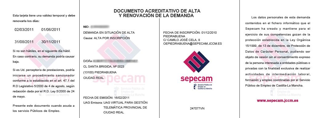 Duplicado de demanda for Oficina virtual empleo jccm
