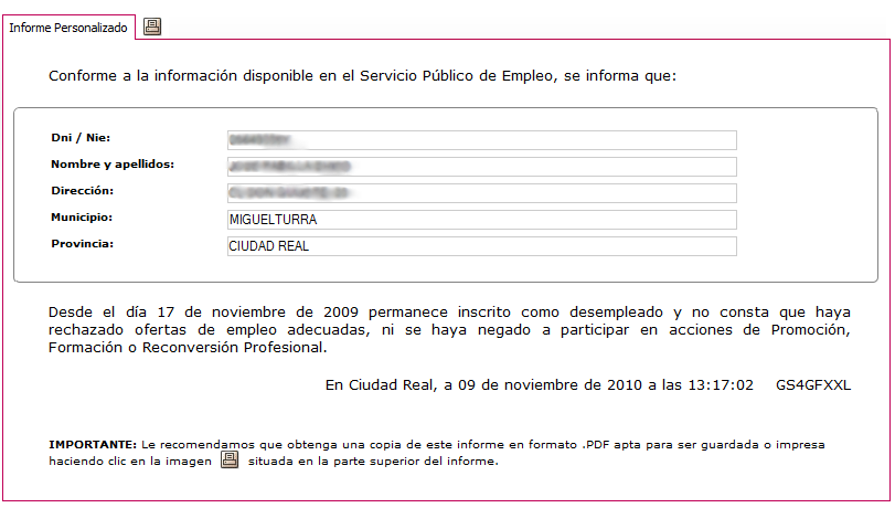 Informe negativo de rechazos a ofertas for Oficina virtual empleo jccm